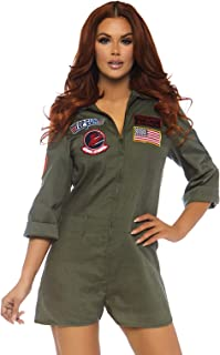 Leg Avenue Women's Top Gun Licensed Women's Romper Flight Suit Costume
