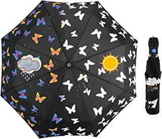 iMucci Color Changing Butterfly Auto Open UV Umbrella for Women Man Outdoor