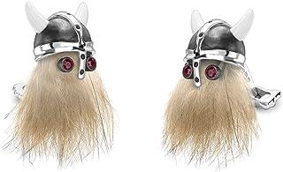 جمجمة الفايكنج مع أزرار أكمام بعيون يانية حمراء من ديكين وفرانسيس