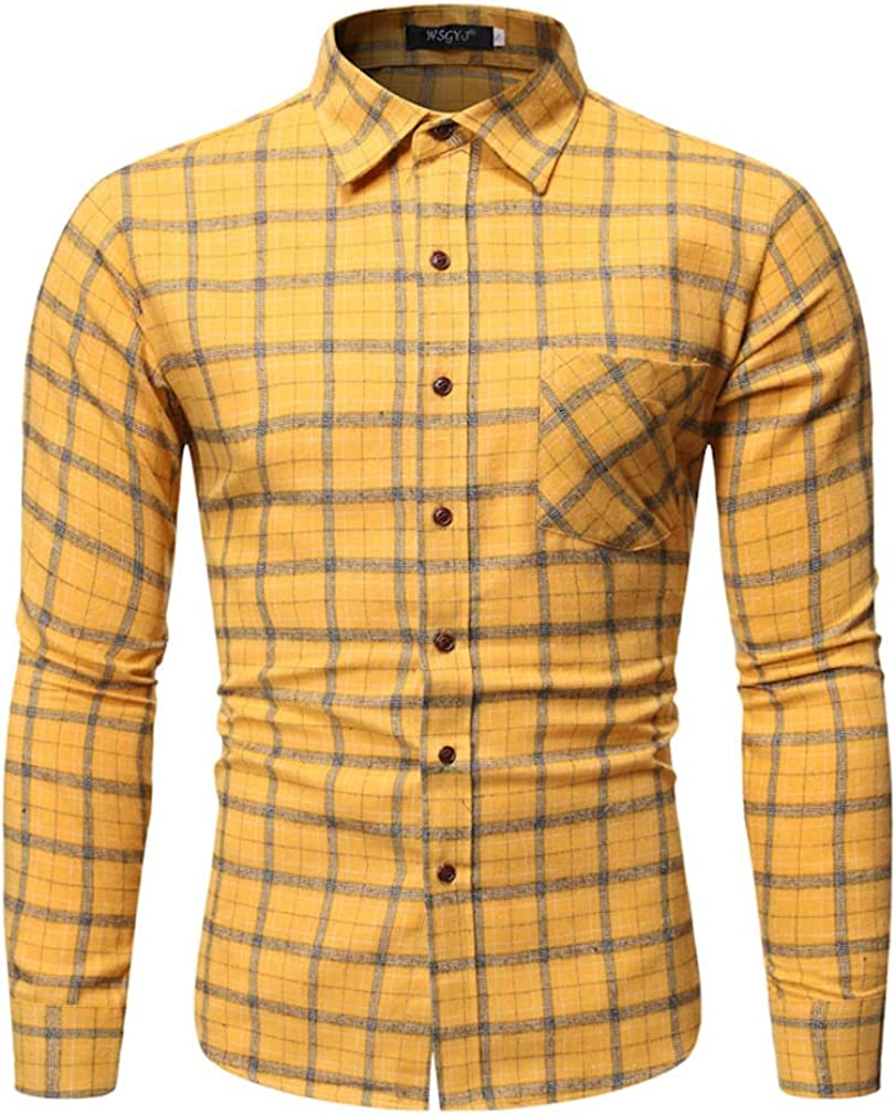 YD-zx Mens Spring Lattice Printed Long Sleeve Stand Collar Casual Button Down Shirts Ethnic Style Collar Shirt Slim Fit