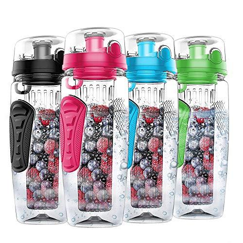 Nomisty Wasserflasche mit Fruchteinsatz,1000ML Fruit Infuser Sports Trinkflasche BPA-Frei mit Kühlung Obst Flasche (Rosa)