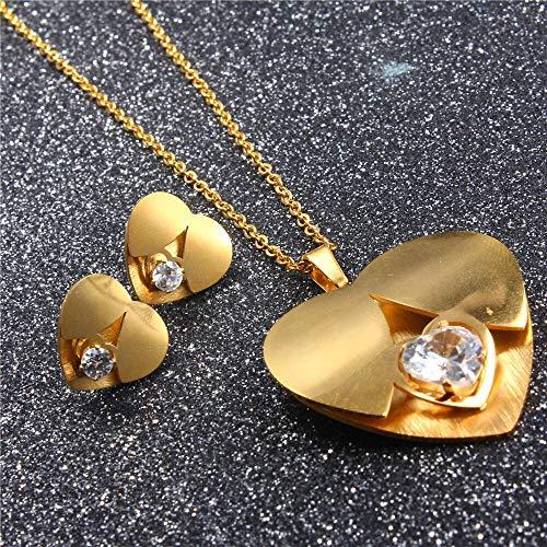 XKMY Juego de joyas de acero inoxidable con forma de corazón y circonitas, para mujer, pendientes y collares africanos, para fiestas, joyas para mujer (color metal: color amarillo claro, oro amarillo)