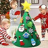 BAKAJI Árbol de Navidad para niños de Fieltro con 15 Adornos navideños + Estrella Cometa aplicables tamaño 70 x 50 cm Color Verde decoración navideña Juguete niños Dormitorio