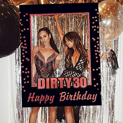 JeVenis Rose Gold Dirty 30 Accessori per Feste di Compleanno 30th Birthday Party Photo Booth Puntelli 30th Birthday Photo Frame Cornice per Foto di Compleanno