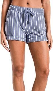 Z Supply ZS191696 The Pinstripe Boyfriend Short in Moody Blue White