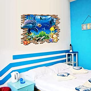 3D Underwater World Dolphin Wall Stickers for Kids Baby Rooms Bedroom Home Decoration Mural Poster Animals Sticker Art Decals