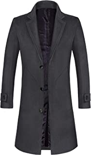 Men's Wool Trench Coat Winter Slim Fit Wool Jacket Long Peacoat Overcoat