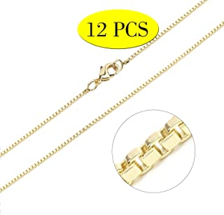 Gold Chain 18K Gold Plated Snake Chains for Necklace Jewelry Making 18inch 24pcs 1.2mm with Lobster Clasps for Women DIY Bulk Link Supplies