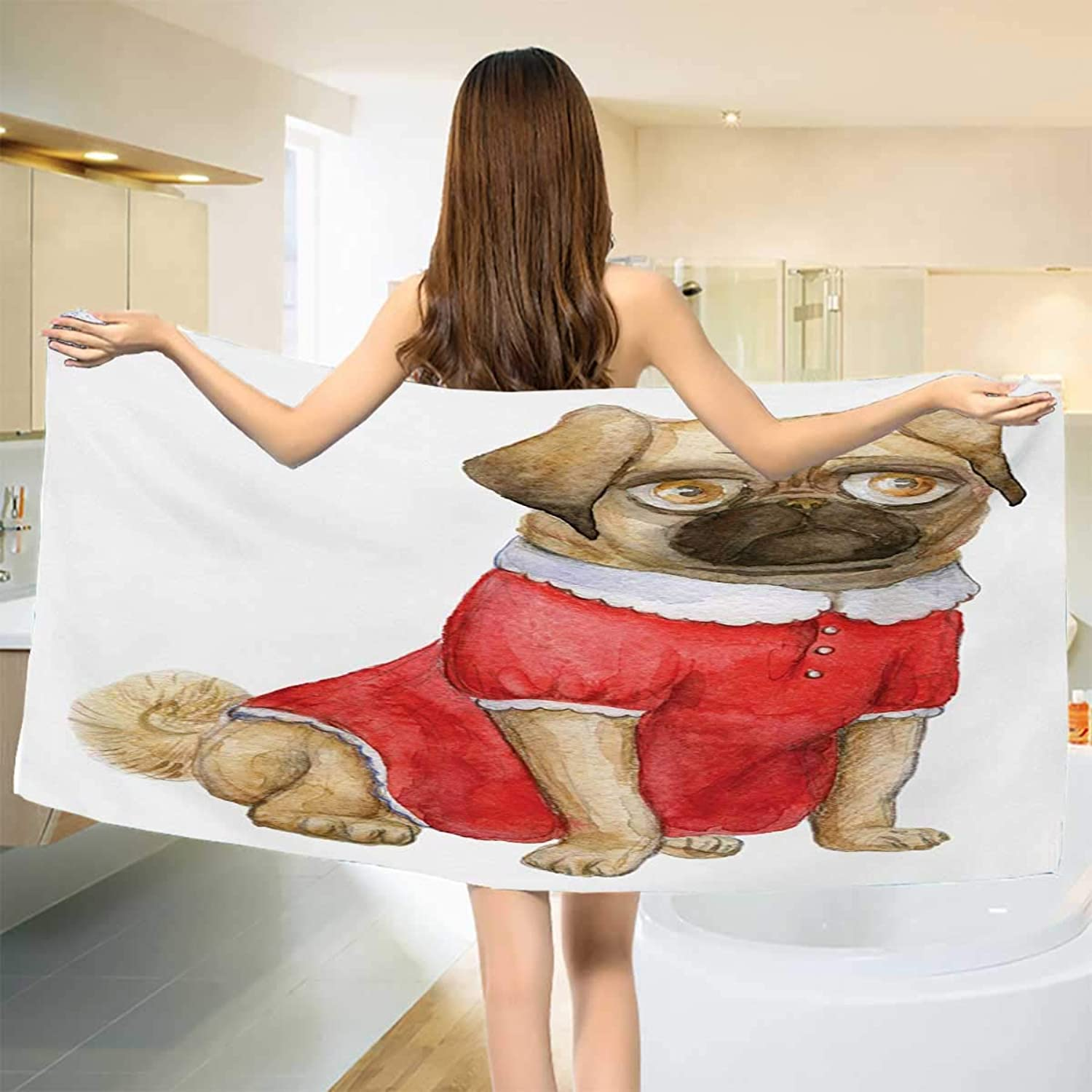 Chaneyhouse Pug,Bath Towel,Cute Dog in Red Dress Animal Cartoon Style Design Funny Pet Picture Print,Bathroom Towels,Pale Brown Red Brown Size  W 27.5  x L 55