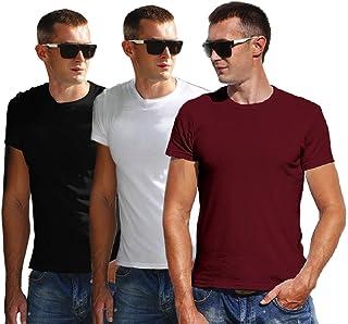 Men Tshirt Cotton White Half Sleeves Round Neck Plain Regular Fit Combo