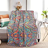 NEWLAKE Quilted Throw Blanket for Bed Couch Sofa, European Gorgeous Floral, 60X78 Inch