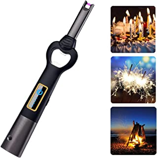 Arc Lighter USB Candle Lighter Flameless Rechargeable Electric Lighters Long Lighter Windproof Plasma Lighter with Bottle Opener and LED Flashlight for Candle,Gas Stove,Grill,BBQ,Cooking,Fireplace