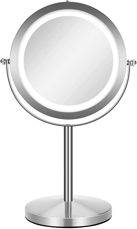 GloRiastar LED 店舗 Makeup Mirror Two-Sided Doub 100%品質保証! Magnification 1x 10x