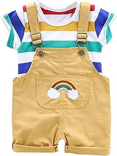キッズ Tシャツ+ストラップショーツ 2点セット 子供服 男の子 女の子 ベビー服 半袖 縞模様 トップス 虹 よだれかけパンツ 上下セット服柔らかい おしゃれ 可愛い 子供スーツ 夏服 七五三 出産祝い 通園 通学 子供の日 プレゼント