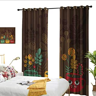 WinfreyDecor Modern Thermal Insulated Drapes for Kitchen/Bedroom Cute Plants Flowers Inside Faced Cups Pottery Theme Creative Funky Artful Print Set of Two Panels W84 x L108