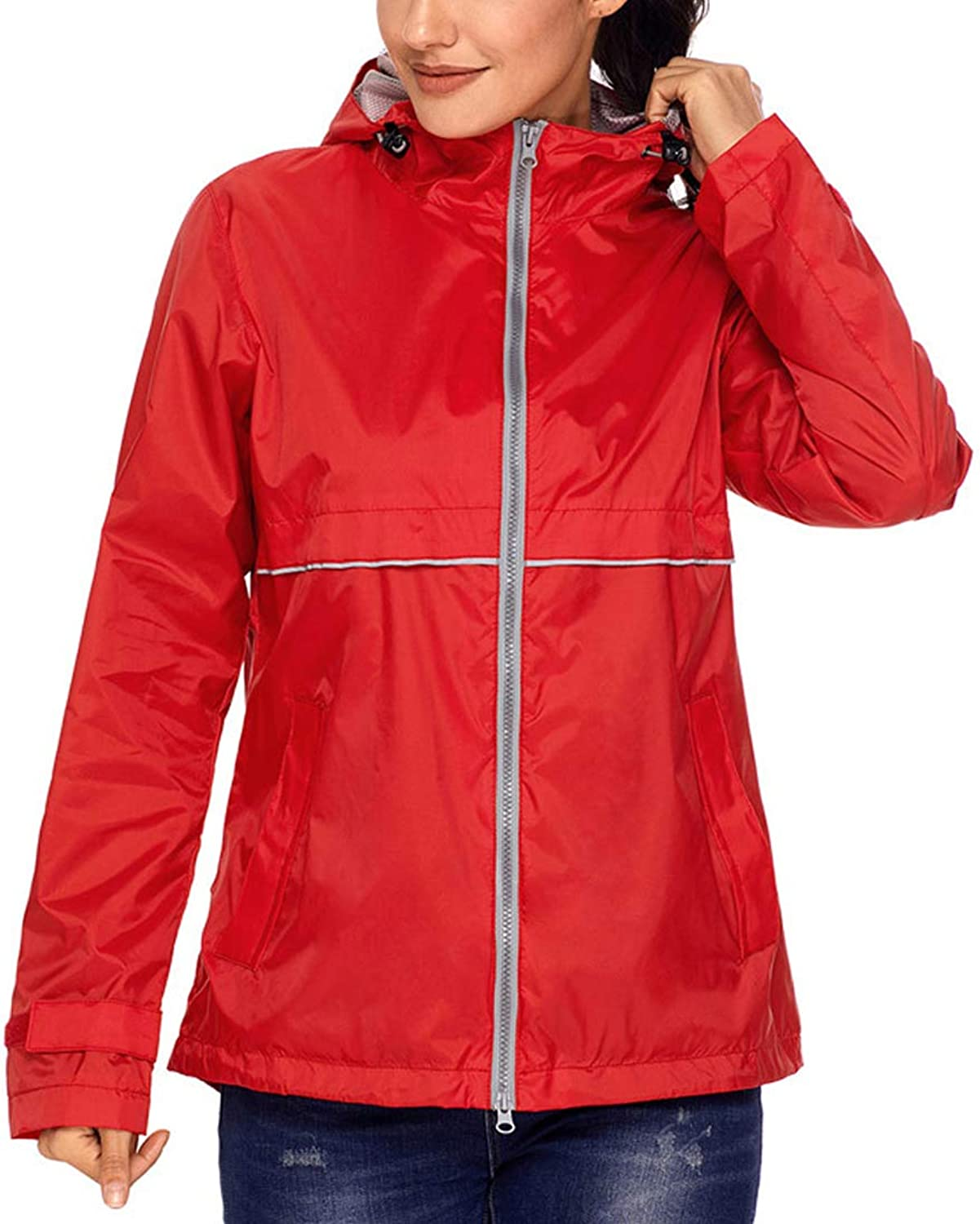 Alomoc Women's Waterproof Hooded Active Rain Jacket Mountaineering Windbreaker