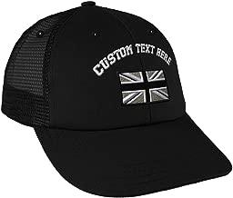 Custom Snapback Baseball Cap British Flag Black White Embroidery Design Cotton