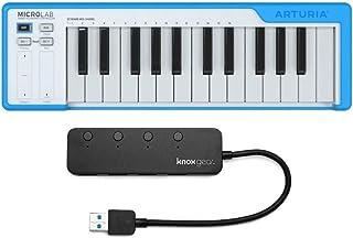 Arturia MicroLab 25-Key USB MIDI Keyboard Controller (Blue) with Knox 4-Port USB 3.0 Hub Bundle (2 Items)