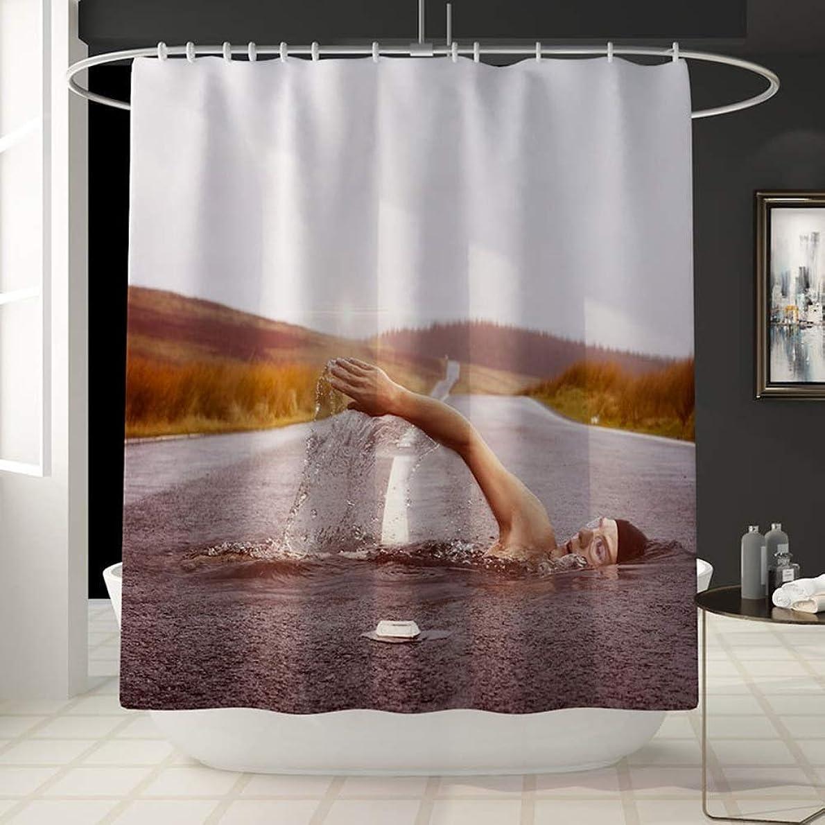 ツインすごいスパーク浴室防水水泳パターン楽しいシャワーカーテン風呂アカウントカーテン浴槽フェードしないでください汎用性の高い快適なシャワーカーテン180センチ* 180センチ洗濯機で洗えます フェンコー