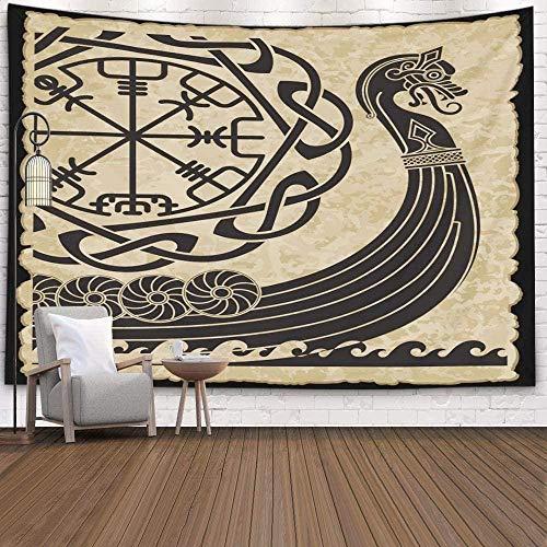 Tapiz de pared Vikingos Patrón antiguo y runas nórdicas Tapiz colgante de pared blanco aislado para decoración Tapiz de dormitorio Living Home 150x200cm