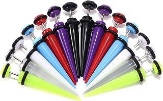 HongWangDZSW 8pair 16PCS Acrylic Barbell Stud Earrings Fake Gauges Kit Faux Plugs Earrings