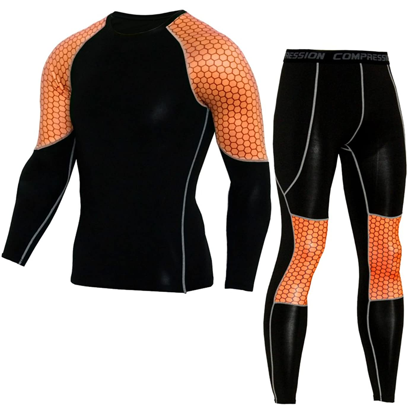 NATURET Compression Pants Running Tights & Men's Athletic Long Sleeve Baselayer Shirt Skin Fitness Lycra Set