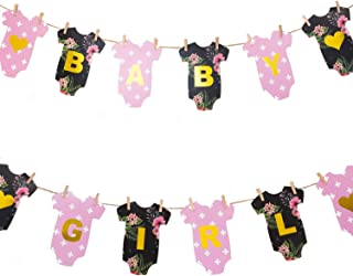 Baby Shower Banner for a Girl DIY Clothesline/ Clothespins Kit - Premium Floral Decorations Bodysuits Onesie Banner - Dusty Rose Pink, Black Flower Design and Gold Garland with Burlap Rope