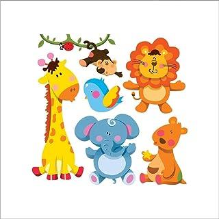 Cartoon Cute Animals Wall Sticker Jungle Theme Kids Wallpaper Decal Sticker Waterproof