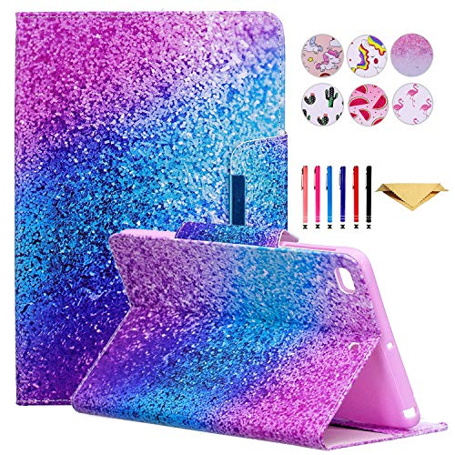 DTangLsm iPad 10.2 Case iPad 7th Generation Case for Kids Smart Multi-Angle Stand Cover Case with Auto Wake/Sleep for iPad 10.2 /iPad Air (3rd Gen) 10.5 / iPad Pro 10.5 2017, Shiny Purple Blue