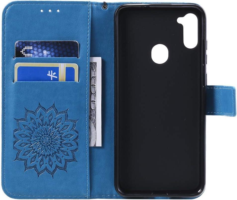 COTDINFORCA Case pour Samsung Galaxy A21S Coque Sunflower Embossing Elegant Retro Svelte PU Leather Shockproof avec b/équille Protecteur /Étui Cover pour Samsung Galaxy A21S Blue Sunflower KT.