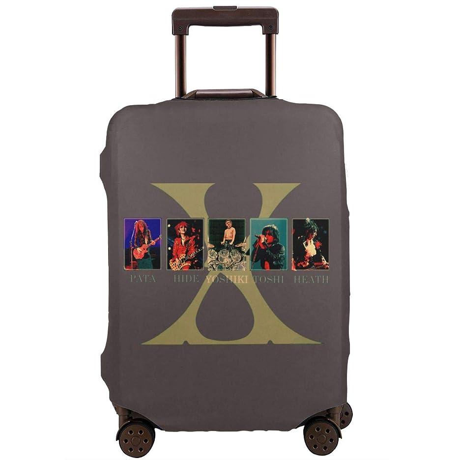 予定貼り直すひねくれたスーツケースカバー 保護カバー X JAPAN 伸縮素材 スーツケースプロテクター 盗難防止 キャリーカバー 便利 ラゲッジカバー 傷防止 防塵 雨汚れ 耐久性 防水 洗える 国内 海外旅行 S/M/L/XLサイズ
