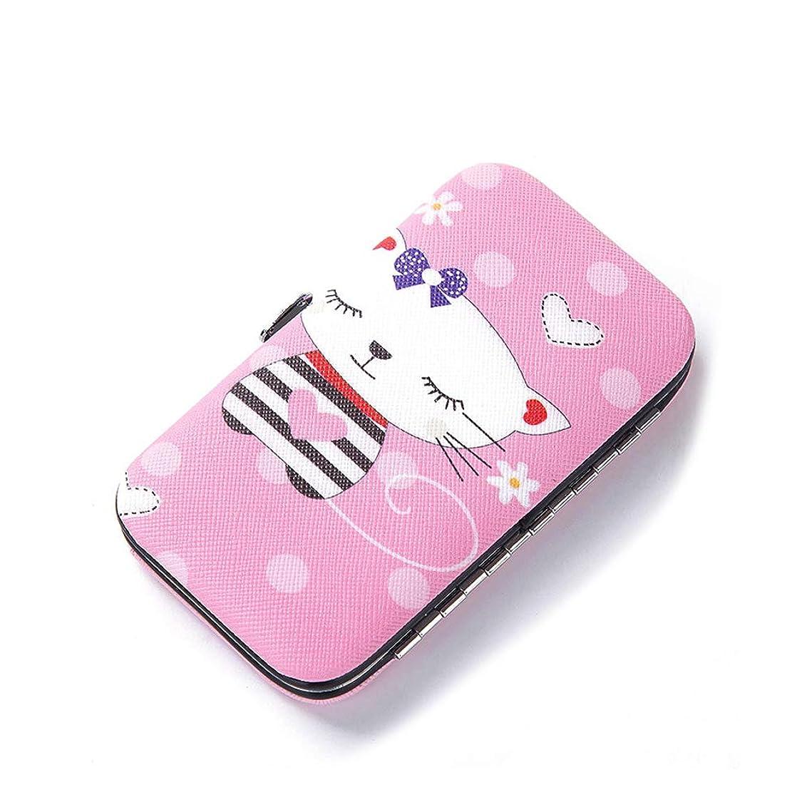 スリム代数虎Snner ビューティセット 爪切り 爪磨き 毛抜き ハサミ 耳かき 携帯 持ち運び 旅行 キャラクター (Pink cat)