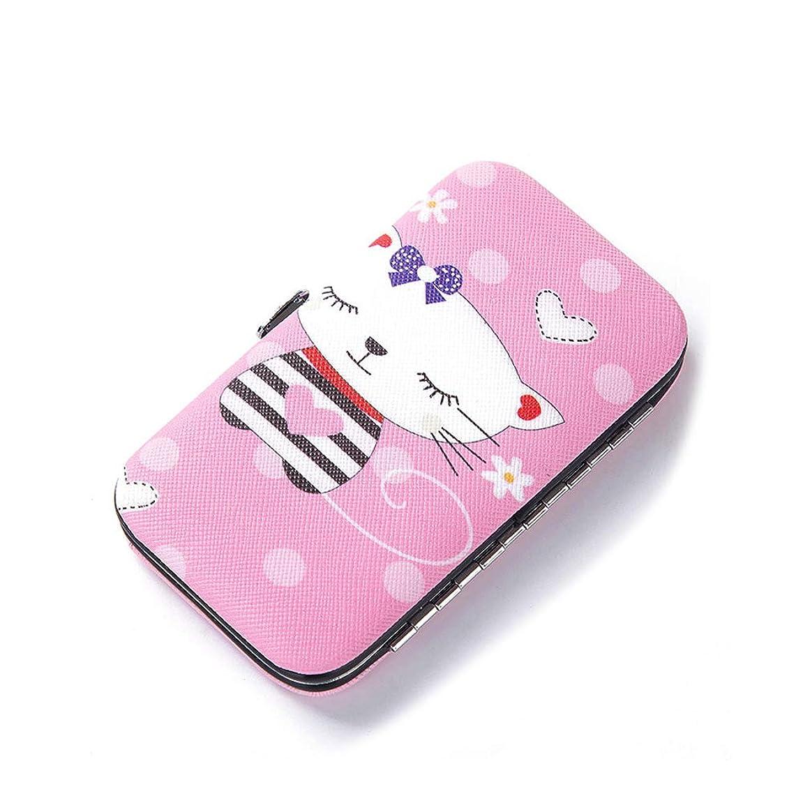 寛容胴体孤児Snner ビューティセット 爪切り 爪磨き 毛抜き ハサミ 耳かき 携帯 持ち運び 旅行 キャラクター (Pink cat)