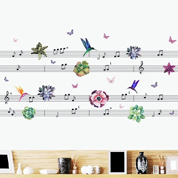 Woodland Arts 49 Inches X 24 Inches Music Staff Flowers Birds Butterflies Wall Decals Stickers Music Notes Vinyl Murals For Bedroom Music Room Classroom Decorations