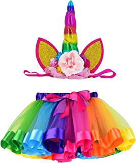 LYLKD Tulle Rainbow Tutu Skirt for Newborn Baby Girls 1st Birthday Photography Outfit Sets with Unicorn Headband.