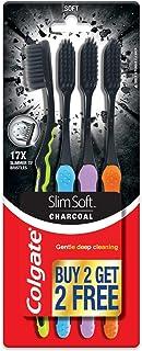 Colgate SlimSoft Charcoal Soft Black Bristles Toothbrush, 4 pcs (Buy2 Get 2), Soft Bristles for Gentle Deep Cleaning