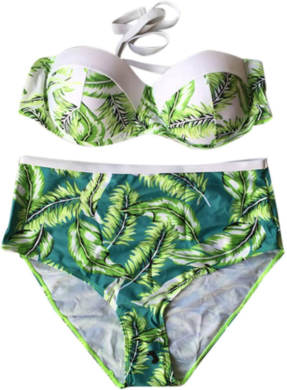 LMSHM Damen Bademode Bademode Frauen Bikini Set Hohe Größe Blatt Gepolsterte Badebekleidung Badeanzug Plus Größe
