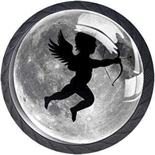 Moon Full Angel - Pomos para armario de cocina (4 unidades redondos anillas)