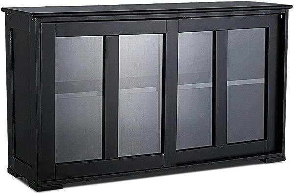 Wavecurl Storage Cabinet Sideboard Buffet Cupboard Glass Sliding Door Pantry Kitchen New