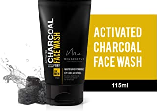 MEN DESERVE Refreshing Charcoal Face Wash with Whitening Vitamin C and Icy Cool Menthol - 115 ml (Sulphate free and Parabe...