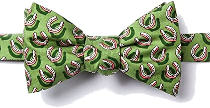 100% Silk Green Equestrian Horse Horseshoes Butterfly Self Tie Bow Tie Neckwear