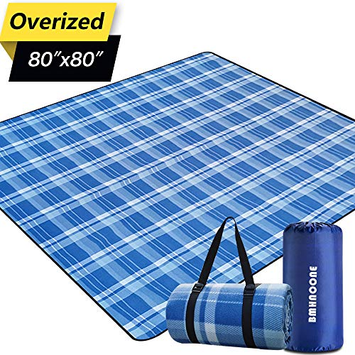 BNHNOONE Outdoor Picnic Blanket, Extra Large Picnic Blanket 80'x80' with Backpack for Family, Foldable Waterproof Picnic Outdoor Blanket Picnic Mat for Camping Hiking Travelling