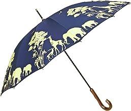レディース 雨傘 長傘 手開き 16本骨 ゾウ・シマウマ・シカ・キリンのサファリ柄手開き雨傘