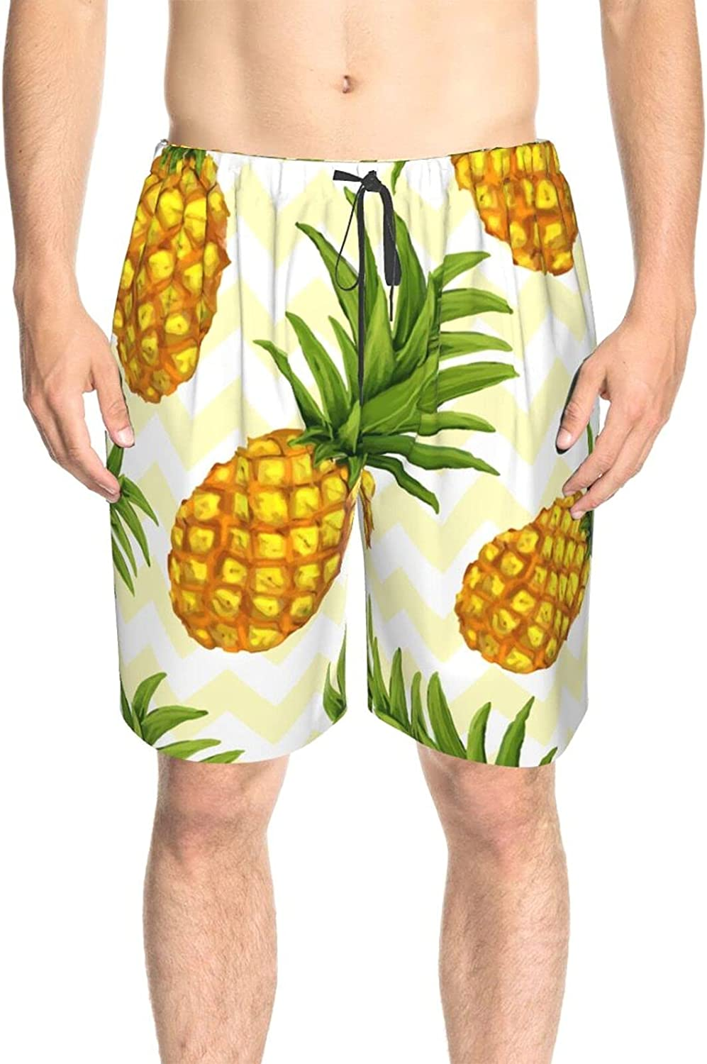 JINJUELS Mens Bathing Suits Summer Pineapples Swim Board Shorts Quick Dry Cool Swimwear Bathing Suits with Pockets