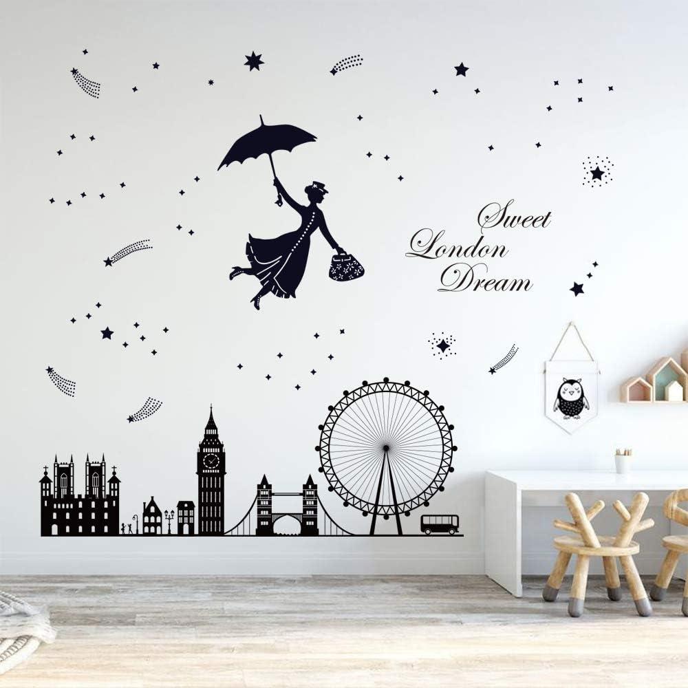 LONDON ENGLAND Skyline Artwork Vinyl Wall Sticker Decal 19h x 60w