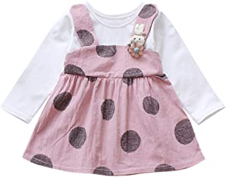 bb010233dba iLOOSKR Toddler Baby Girl Long Sleeve Rabbit Floral Princess Dress Romper  3-24M