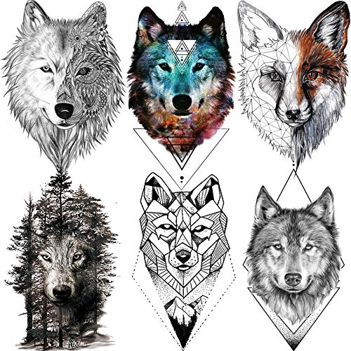 NAPPO 6 Feuilles Géométrique 3D Grand Tribal Loup Faux Tatouages Éphémère Hommes Femmes Adultes Coyote Forêt Réaliste Papier Tatouage Temporaire Avant Bras Enfants Temporary Tattoo Semi Permanent Kit