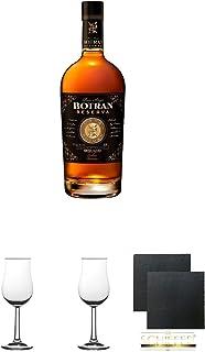 Botran Reserva 15 Jahre Solera aus Guatemala 0,7 Liter  2 Bugatti Nosing Gläser mit Eichstrich 2cl und 4cl  2 Schiefer Glasuntersetzer eckig ca. 9,5 cm Durchmesser