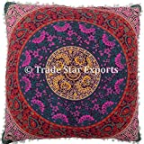 "Trade Star Exports 26"" Large Euro Shams Pillow Cover, Decorative Mandala Cushion, Meditation Pillow Cases, Bohemian Throw Pillow"