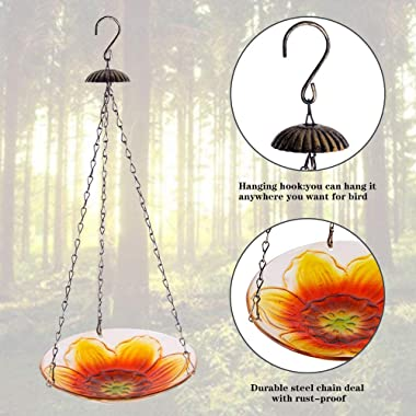 Hanging Hummingbirds Feeder for Outside, Hand-Painted Glass Sunflower Shaped Birdbath Bowl for Outdoors, 8.5 x 20 Inches